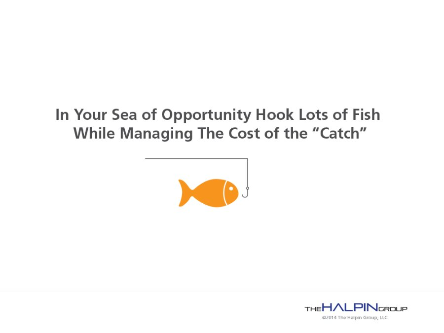 In Your Sea of Opportunity Hook Lots of Fish While Managing The Cost of the Catch
